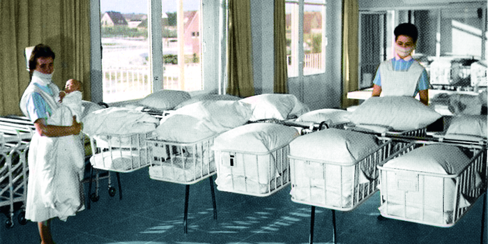 Stiegelmeyer's cots are used successfully in many maternity wards during the baby boom years.