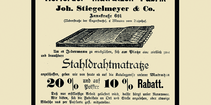 In 1899, the production of steel wire mattresses commences in Rödinghausen, Germany. Following a move to Herford, the company is entered in the trade register on 1 November 1900.